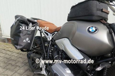 MV Gepäckbrücke für die Soziusraste für BMW Solofahrer mit VAUDE-Tasche 24 Liter - Aluminium in neue